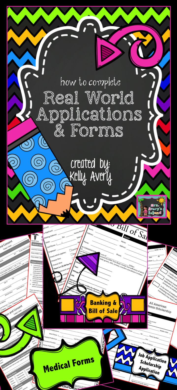 Job Applications and Forms for Kids - Are your students learning how to complete personal information on a real world job application, college scholarship, medical form, etc.?  This packet provides teachers a variety of applications and forms for students to learn tips when completing applications.  Click here to discover a variety of real world forms to teach your students this important life skill.