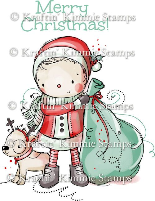 R-011 Kraftin' Kimmie Unmounted Rubber Stamp Santa & Pup! $8.00