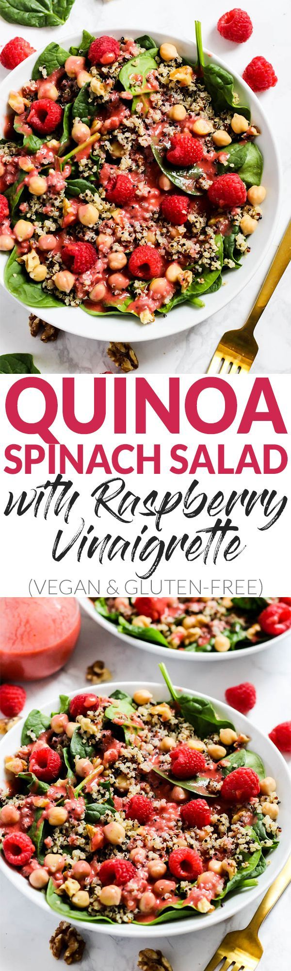 Enjoy the fresh flavors of the season with this fruity Quinoa Spinach Salad with Raspberry Vinaigrette! Serve it as a side or a meal. Vegan & gluten-free! In partnership with @Pompeian. #ad