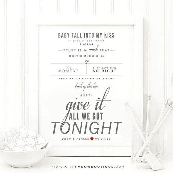 George Strait - Give It All We Got Tonight, Grey & Red, Lyric Art Print - Wedding Gift, Paper Anniversary Gift, Valentine's Day Gift
