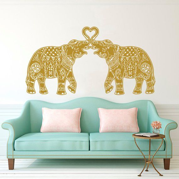 Elephant Wall Decal Vinyl Stickers Floral Patterns Yoga Decals Home Decor Indie Boho Bedding Nursery