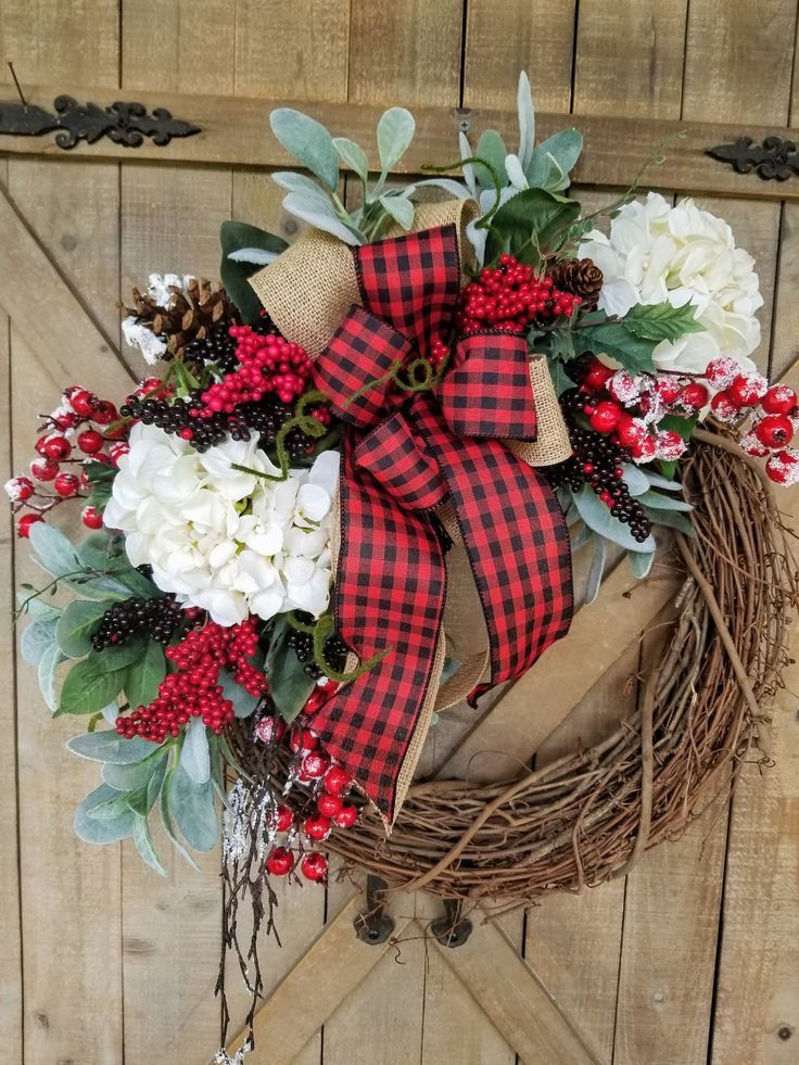 Christmas Wreath, Lambs Ear Hydrangea Christmas, Christmas front