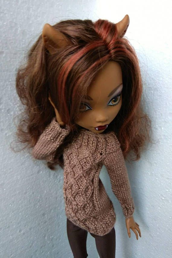 Monster High Doll Clothes Hand Knitted Brown Chocolate Vyazanie