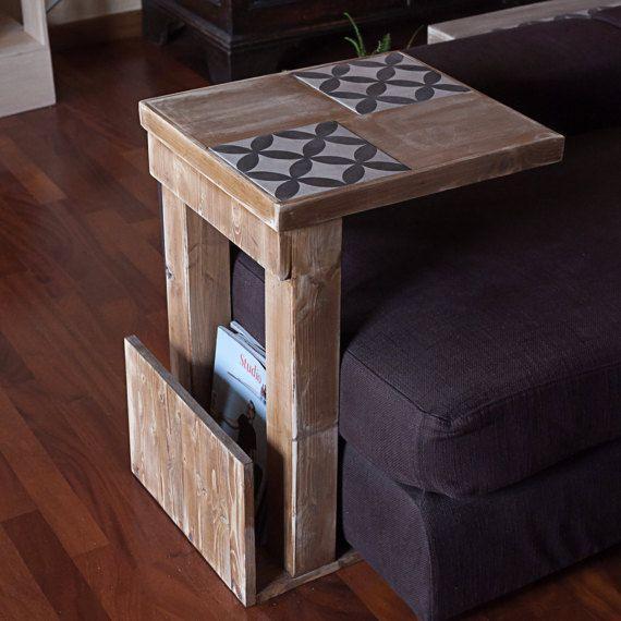 Sid  tavolino da divano side table vassoio tv in legno e
