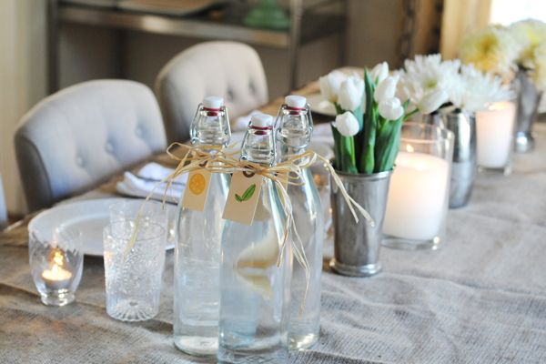 Great Dinner Party Table. Loving The Burlap Table Cloth, Water Bottles With  Simple Tags And Mismatched Vases And Flowers. Part 25