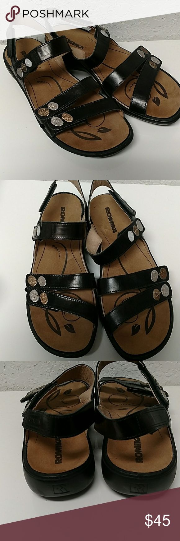 Romika Sandals Good used condition.  Velcro straps.   Black.  Well made and comfortable. Romika Shoes Sandals