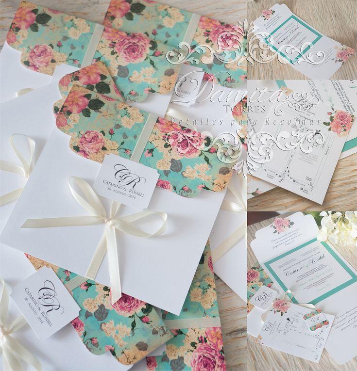 Invitacion de Boda con toques de color turquesa y flores vintage