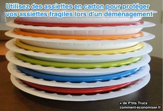 protéger les assiettes en porcelaine lors d'un déménagement avec des assiettes en carton
