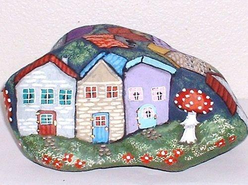 """Gnome Village "" One of A Kind Painted Rock Signed Art Vivian Allen   eBay"