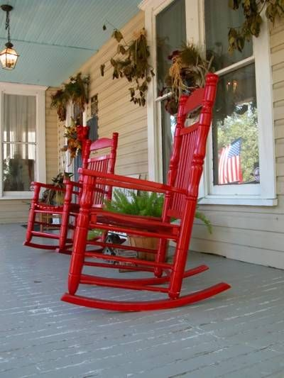 red rocking chair porch rocking chairs country charm junk drawer porch ...