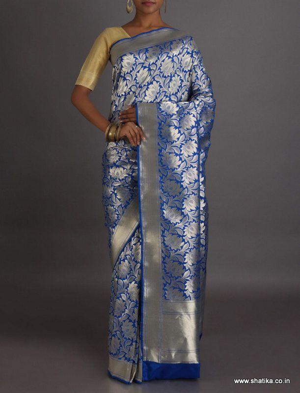 Laya Calming Blue Silver Lotus Real Zari Brocade #BanarasiSilkSaree