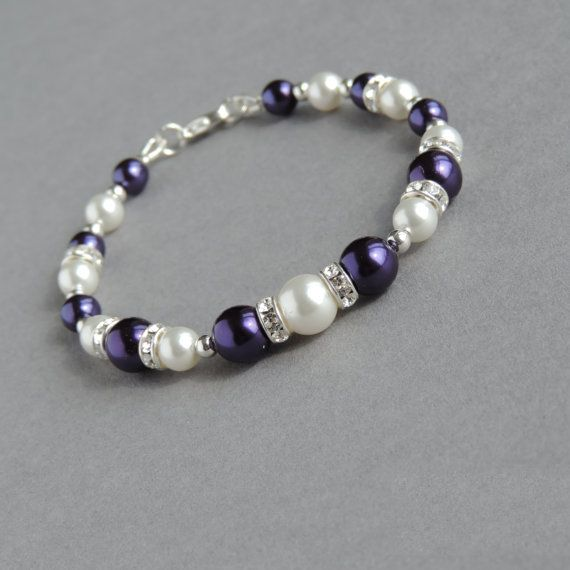 Purple Pearl Bracelet - Amethyst Purple Bridesmaid Jewelry - Royal Purple and Ivory Jewellery - Bridesmaids Gifts - Wedding Accessories