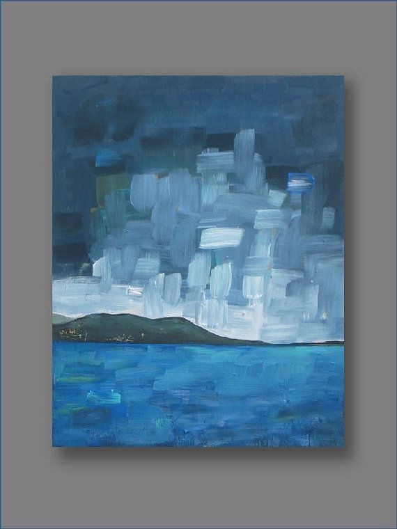 Abstract landscape painting  acrylic painting  blue by VESNAsART