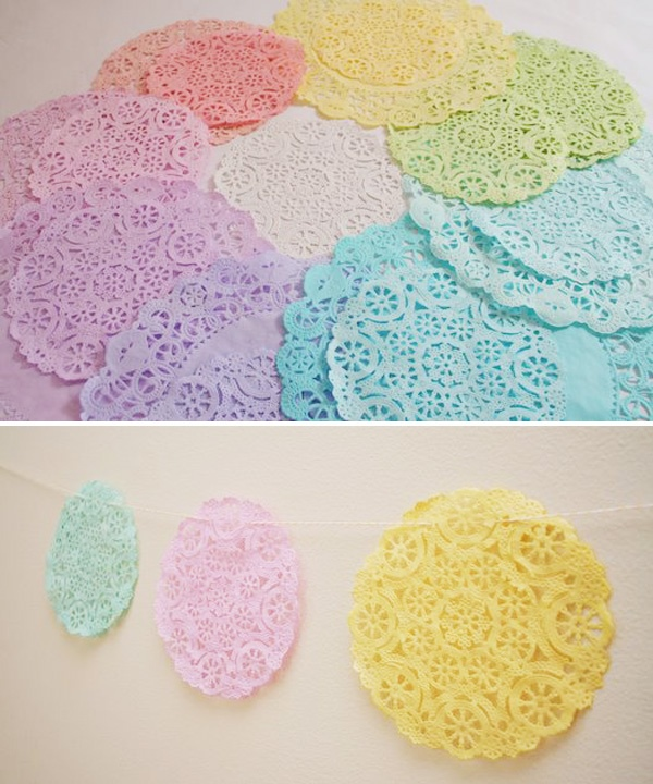 dye doilies to make a garland or simply for present wrapping