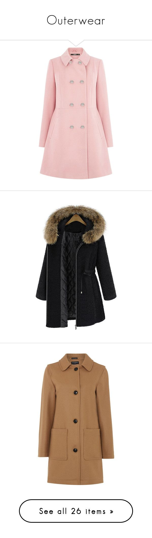 """""""Outerwear"""" by zyglavis ❤ liked on Polyvore featuring outerwear, coats, jackets, coats & jackets, pink, pink double breasted coat, oasis coats, double breasted coat, pink coat and zip coat"""
