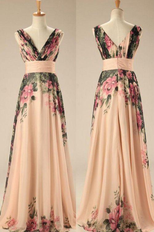 Hot Selling V-neck Long Chiffon Floral Print Prom/Evening Dress