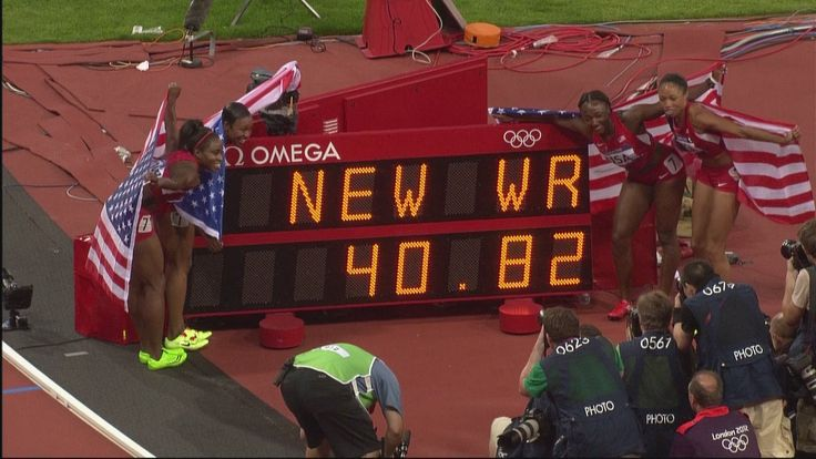 #9 USA Break Women's 4 x 100m Relay World Record - London 2012 Olympics.. This is what team work is all about. (start vid at 3:30)