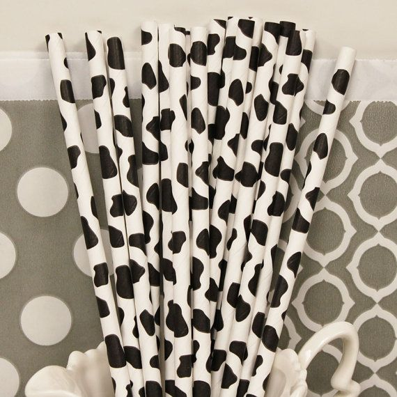 COW PRINT Paper Straws for FARM Parties 25 Black by ThePartyFairy, $4.50