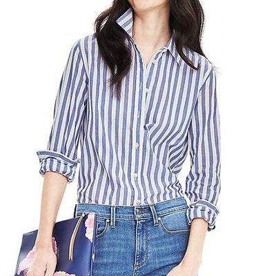 Banana Republic Vertical Stripe Shirt - blue stripe shirt, blue striped shirt, blue vertical stripe shirt, light blue stripe shirt, light blue vertical stripe shirt
