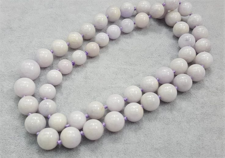 Gorgeous Natural Lavander Jadeite Graduated 11-15mm Round Beads Necklace 28inch Strand by BeadSeen on Etsy