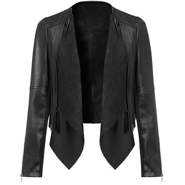 Yoins Cropped Leather Biker Jacket (235 DKK) ❤ liked on Polyvore featuring outerwear, jackets, black, leather & suede jackets, black biker jacket, black jacket, leather biker jacket, faux moto jacket and moto jacket