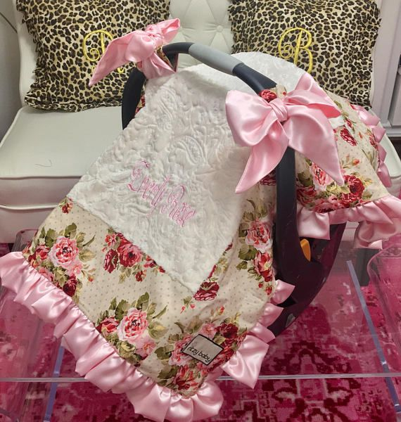 Baby Pink Canopy Blanket Ivory Paisley Car Seat Cover