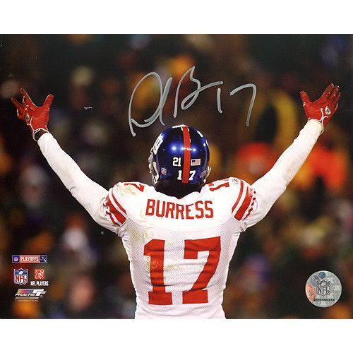 Plaxico Burress NFC Championship Game Celebration 8x10 Photo - Plaxico Burress is fast becoming a favorite among New York Giants fans. The talented wide receiver joined the Giants after five seasons with the Pittsburgh Steelers and has made an immediate mark becoming a regular target for Eli Manning. In his first 12 games with Big Blue he caught six touchdown passes and seems assured of breaking his personal record of seven touchdowns in a season. Plaxico Burress has hand signed this 8x10…