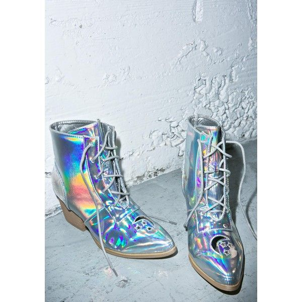 Y.R.U. Cosmic Aura Boot (£86) ❤ liked on Polyvore featuring shoes, boots, lace up cut out boots, tall lace up boots, rubber sole boots, strap boots and cut out boots