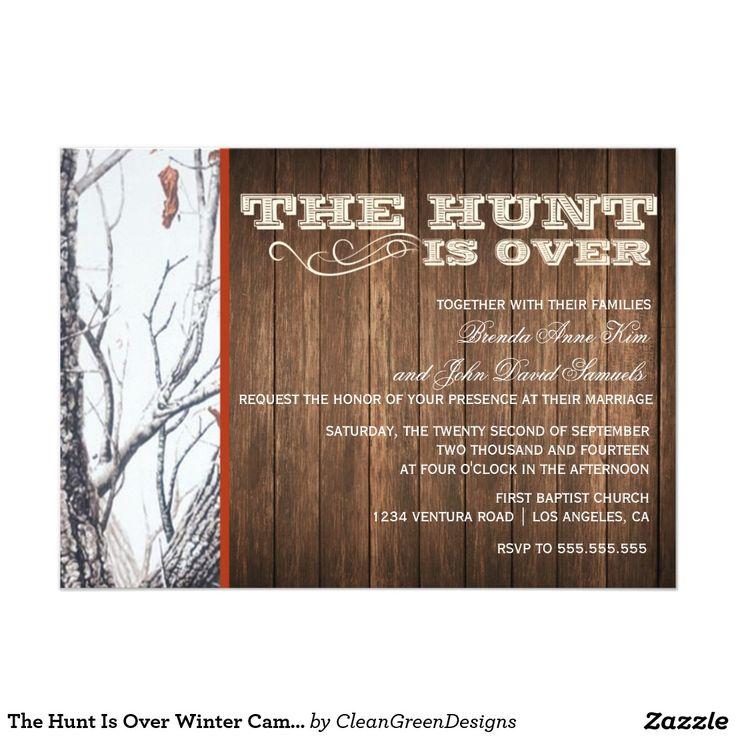 """The Hunt Is Over Winter Camo Wedding Invitation 5"""" X 7"""" Invitation Card"""