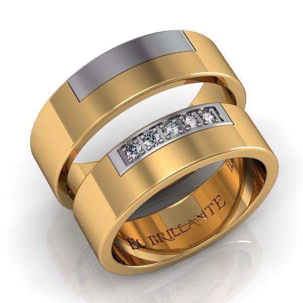 Argollas De Matrimonio En Oro Blanco Y Amarillo De 18