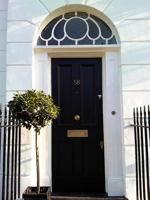 London Front Door Painted In Black Eggshell   Amazing What Some Greenery  Will Designs House Design Decorating