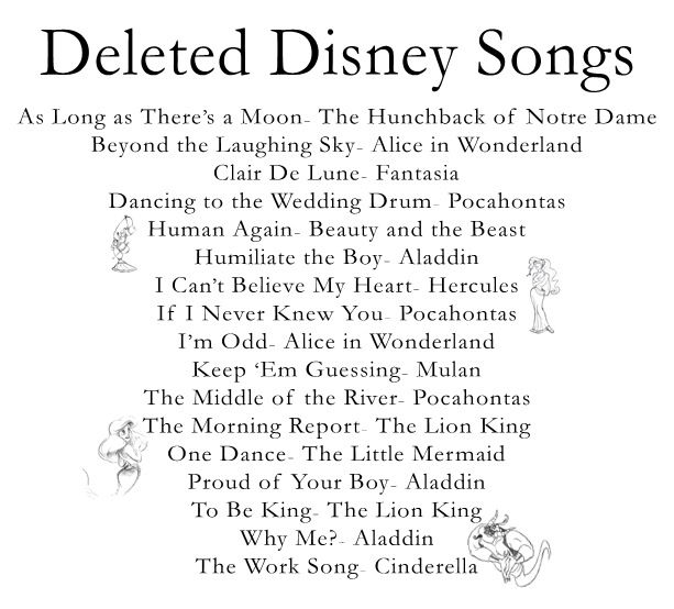Deleted Disney Songs (i know a couple of these, but would love to hear the others!)