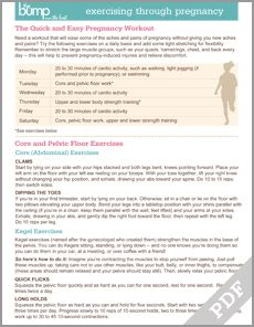 Tool: Pregnancy Workout Plan - Pregnancy - Pregnancy Tools