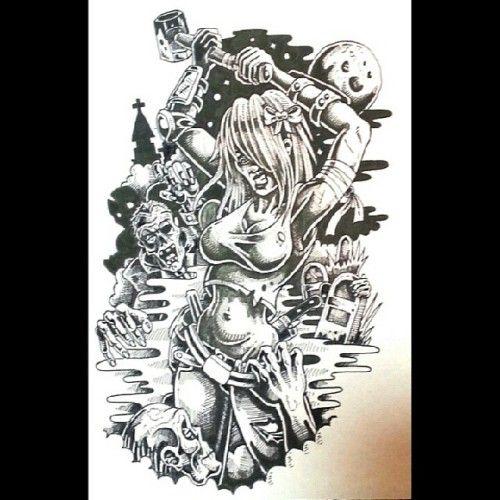 Killing zombies #tattoo #illustration #penandink #zombie #zombies # ...