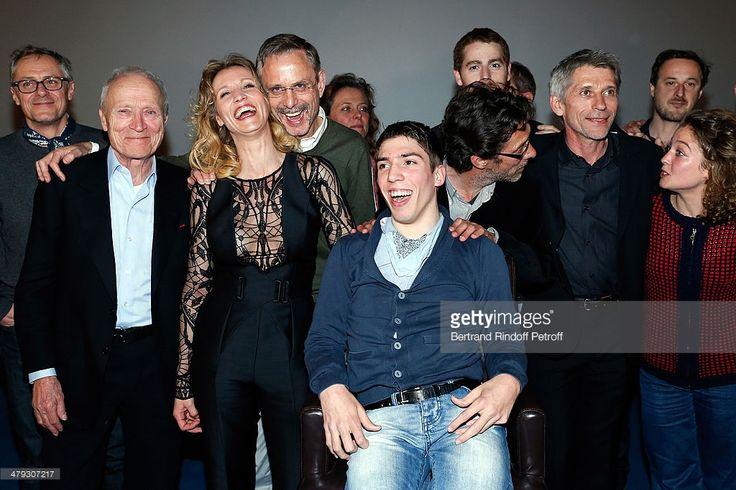 Jérome Seydoux, Alexandra Lamy, Fabien Heraud, Nils Tavernier and Jacques Gamblin attend the 'De Toutes Nos Forces' Paris premiere at Gaumont Capucines on March 17, 2014 in Paris, France.