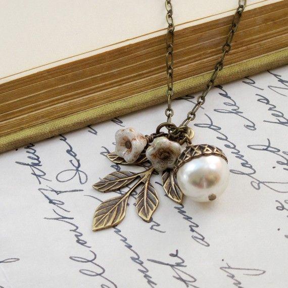 CIJ, SALE, Pearl Acorn Necklace, Acorn Pendant, Leaf Necklace, Gold Acorn Necklace, Autumn Wedding Acorn Jewelry