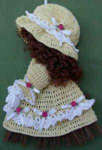 Sunbonnet broom doll, found on : http://www.bestfreecrochet.com/2012/02/20/free-crochet-pattern-sunbonnet-sue-broom-doll-51/  Log in required.