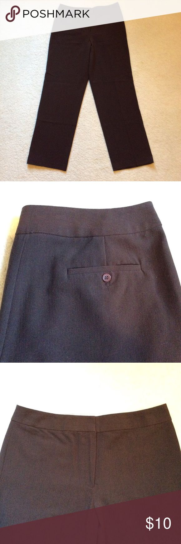 Chocolate brown trousers Flat front, zip front, no belt loops, no front pockets, pockets in back. Gently worn. Rafaella Pants Trousers