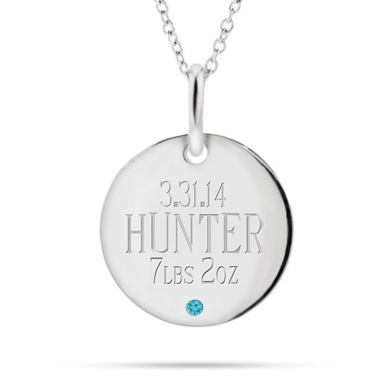 Adorable first Mother's Day necklace with all the important birth details.  Ships in just one day, so there's still time to order!: