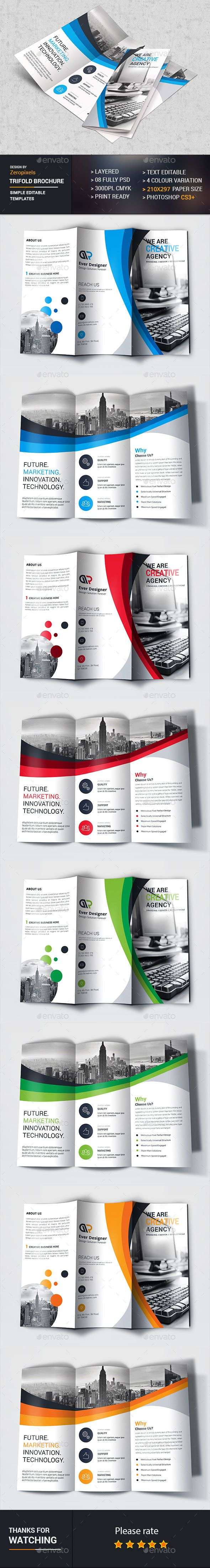 Business Trifold Brochure Template PSD. Download here: https://graphicriver.net/item/business-trifold/17277454?ref=ksioks