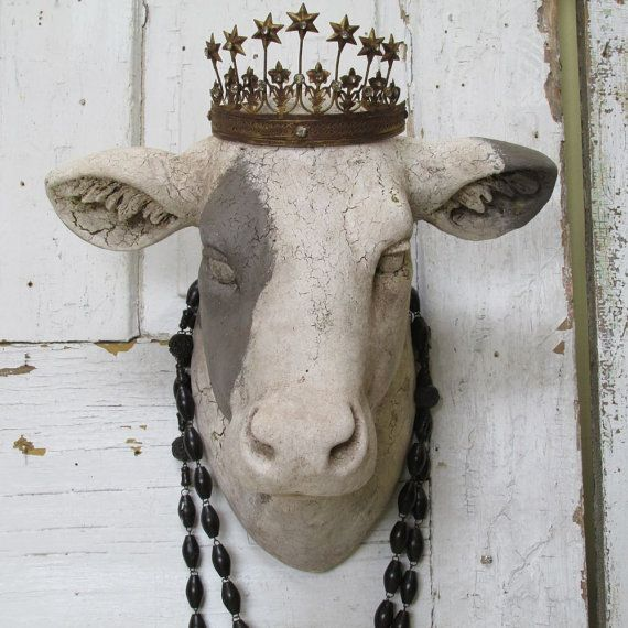 Cow Head Wall Mount Painted White Putty Rustic Farmhouse Country Bovine W Crown Faux Taxidermy