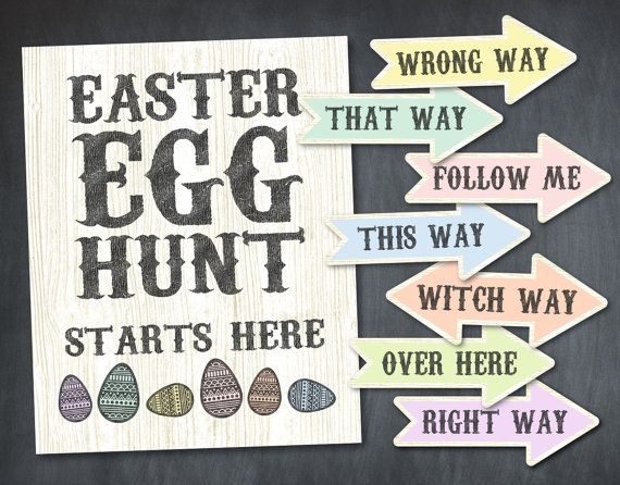 Instant Download Wooden Rustic Easter Egg Hunt by Print4Yourself