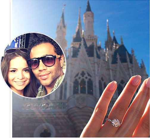 "Disney alum and ""High School Musical"" star Corbin Bleu presented his girlfriend, Sasha Clements, with a glass slipper containing a classically beautiful solitaire diamond engagement ring in the place ""Where Dreams Come True"" — Disney World in Orlando, Fla. Yes, that's Cinderella's Castle in the photo. More here. http://nordjewelers.thejewelerblog.com"