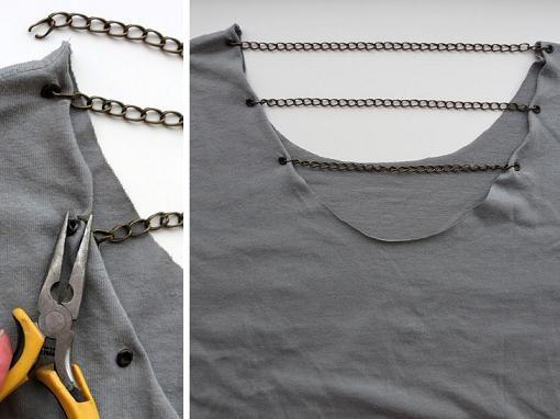 Customizar camisetas con abalorios en la espalda - Ropa DIY