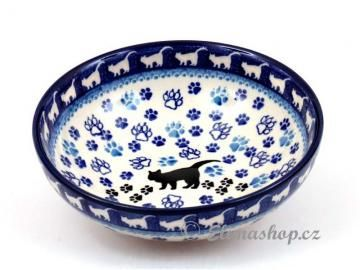Cute black cat pattern . BOWL 17/5,5 cm . This Handmade Polish Pottery bowl is from ELIMAshop.cz . Boleslawiec . Bunzlau . ceramics . stoneware  ( miska nízká 17/5,5 cm - ELIMAshop.cz )