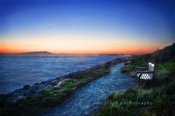 Sunset Photography Berkeley Marina California wooden bench blue green orange on Etsy, $45.00