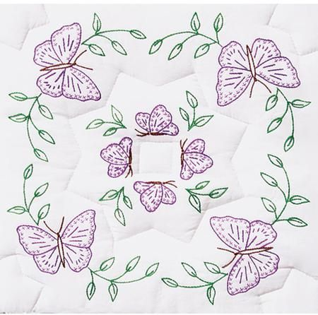 "Interlocking Circle of Butterflies 18"" Quilt Squares"