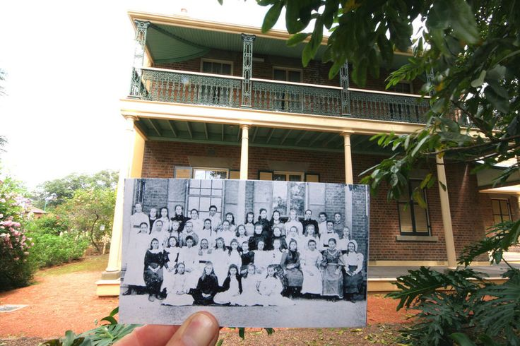 Jeanette Grossmann, principal of Maitland Girls High School taken on the back verandah of what is now Grossmann House, Church Street, Maitland, NSW. She is in the back row, third from the end on the right. She was at the school on this site from 1893 to 1913 when she was promoted becoming the first principal of north Sydney Girls High School. Grossmann House was named in her honour in 1932.