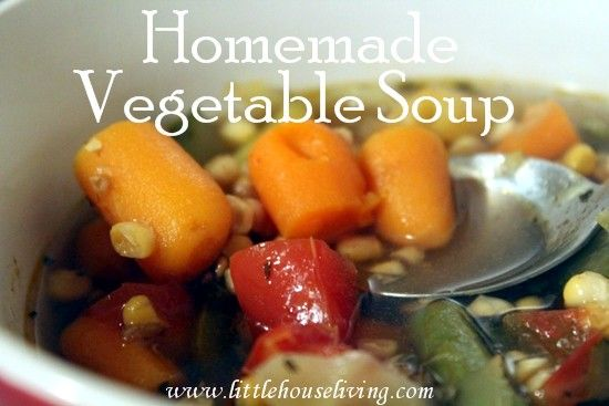 Homemade Vegetable Soup | Little House Living | Throw this simple dinner into the crockpot for a quick & healthy meal!