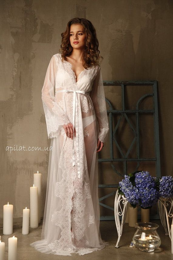 RESERVED for KATJA Lace-trimmed Tulle Bridal Robe by Alingerie